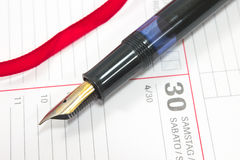 Fountain pen on  organizer Royalty Free Stock Photo