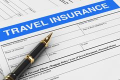 Fountain Pen over Travel Insurance Forms. 3d Rendering. Fountain Pen over Travel Insurance Forms extreme closeup. 3d Rendering stock illustration