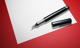 Fountain Pen on Paper Stock Photography