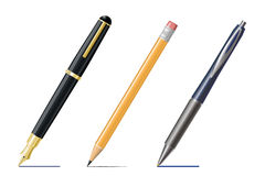 Fountain Pen, Pencil and Ballpoint Drawing Lines Royalty Free Stock Photo