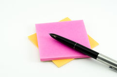 Fountain pen with post-it Royalty Free Stock Images