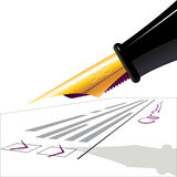 Fountain-pen. the questionnaire. Pen. The filled questionnaire with the signature. illustration Stock Images