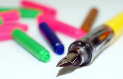 Fountain pen with refill cartridges Stock Image
