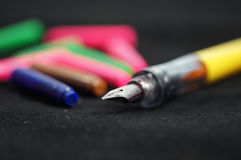 Fountain pen with refill cartridges Stock Images