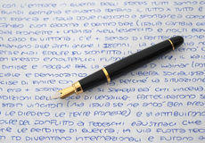 Fountain pen on sheet Royalty Free Stock Photography