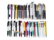 Fountain pen. Still life of colored fountain pens on a white background. stationery Royalty Free Stock Photography