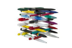 Fountain pen. Still life of colored fountain pens on a white background. stationery Stock Photo