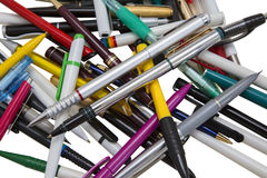 Fountain pen. Still life of colored fountain pens on a white background. stationery royalty free stock image