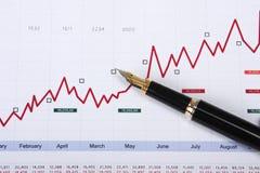 Fountain pen on stock chart Stock Photo