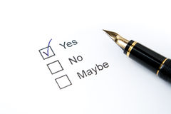 Fountain Pen on Survey Stock Image