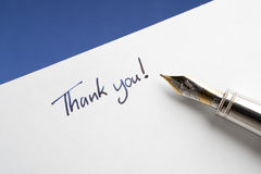 Fountain Pen with Thank You Note Royalty Free Stock Photo