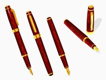 Fountain pen. The three-dimensional image of the fountain pen on a white background royalty free stock photos