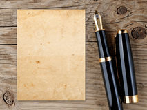Fountain pen and vintage paper Stock Image