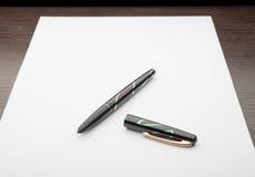 Fountain Pen on White Paper Stock Photos