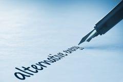 Fountain pen writing Alternative energy. Fountain pen writing the word alternative energy Royalty Free Stock Image