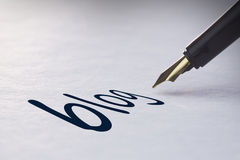 Fountain pen writing Blog Stock Image