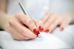 Fountain pen writing Royalty Free Stock Photo