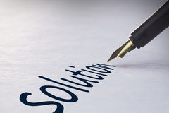 Fountain pen writing Solution Stock Image