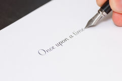 Fountain pen writing the words Stock Image
