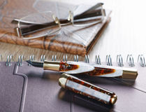 Fountain pens and diaries Stock Image