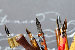 Fountain pens nib collection macro view, calligraphic tools concept. shallow depth of field royalty free stock image