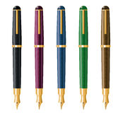Fountain Pens Vector Illustration. Vector Illustration of five fountain pens in different colors. Each one has its own layer Stock Images