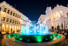 Fountain. People gathering around the fountain at the Senado Sqaure in Macao Royalty Free Stock Image