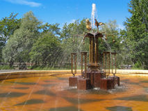 Fountain in Petrozavodsk, Russia. Street fountain in Petrozavodsk, in front of House of Culture of the Onega Tractor Plant Stock Photo