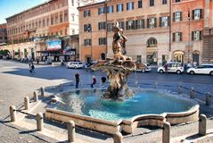 Fountain in Piazza Barberini in Rome, Italy stock photography