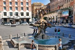 Fountain in Piazza Barberini in Rome, Italy Royalty Free Stock Images