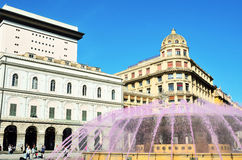 The fountain in Piazza De Ferrar Royalty Free Stock Photos