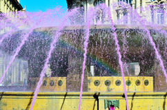 The fountain in Piazza De Ferrar Stock Images