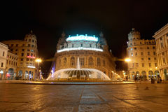 Fountain on Piazza de Ferrari - city main square Stock Image