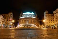 Fountain on Piazza de Ferrari - city main square Stock Image
