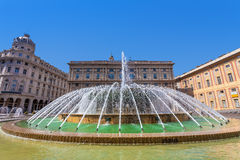 Fountain on Piazza de Ferrari in Genoa. Royalty Free Stock Photography