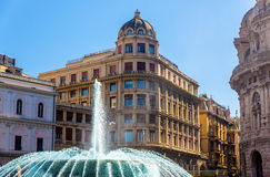 Fountain in Piazza de Ferrari - Genoa Stock Photos