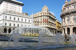 Fountain in Piazza De Ferrari Genoa Italy Royalty Free Stock Images