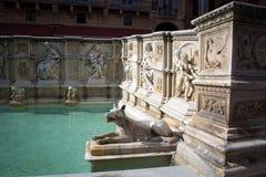 Fountain at Piazza del Campo in Siena Stock Photo
