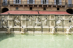 Fountain on Piazza del Campo, Siena stock images