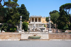 Fountain on the Piazza del Popolo in Rome, Italy. Royalty Free Stock Images