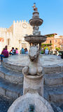 Fountain on Piazza della Cattedrale in Taormina Royalty Free Stock Photography