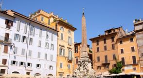 Fountain on Piazza della Rotonda in Rome, Italy Royalty Free Stock Images