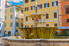 The fountain on the Piazza Farnese in Rome, Italy. Royalty Free Stock Photos