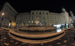 Fountain in Piazza Navano at night, Rome Stock Images