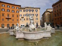 Fountain at Piazza Navona in central Rome Stock Photography