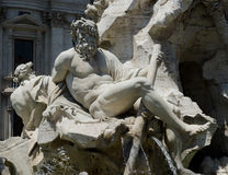 Fountain at Piazza Navona in Rome, Italy. Details of one of the landmarks in Rome, Italy Royalty Free Stock Photo
