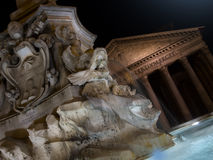 Fountain of Piazza Rotonda by night outside Pantheon in Rome Stock Photos
