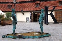Fountain Pissing Men near Kafka Museum in Prague Royalty Free Stock Photography