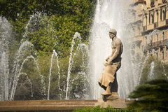Fountain in Placa Catalunya - Barcelona Stock Image
