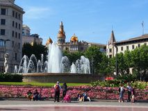 Fountain, Placa de Catalunya, Barcelona Stock Photos